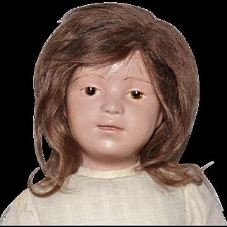 Schoenhut Wooden Character Doll with Brunette Wig