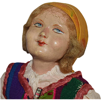 Vintage All Original Cloth Doll with Composition Head in Ethnic Costume