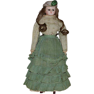 German Wax Over Papier Mache Doll with Unusual Molded Hat