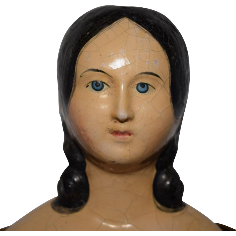 Fabulous Early German Papier Mache Doll with Exposed Ear Hairstyle
