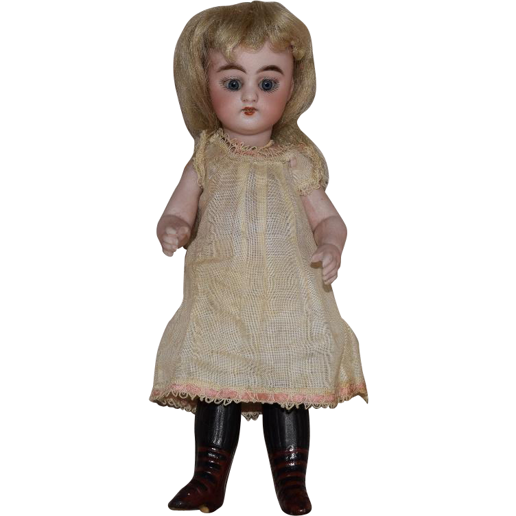 All Bisque Simon & Halbig German Doll with Long Black Stockings