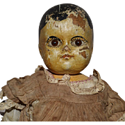 Early New England Wooden Doll with Motschmann Type Body