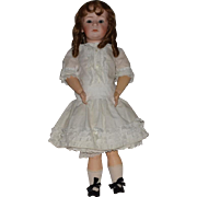 Large Gebruder Heubach Character Bisque Head Pouty Doll with Glass Eyes