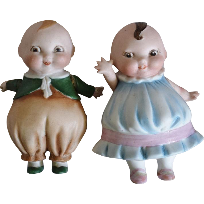German All Bisque Happifats Pair by Borgfedt