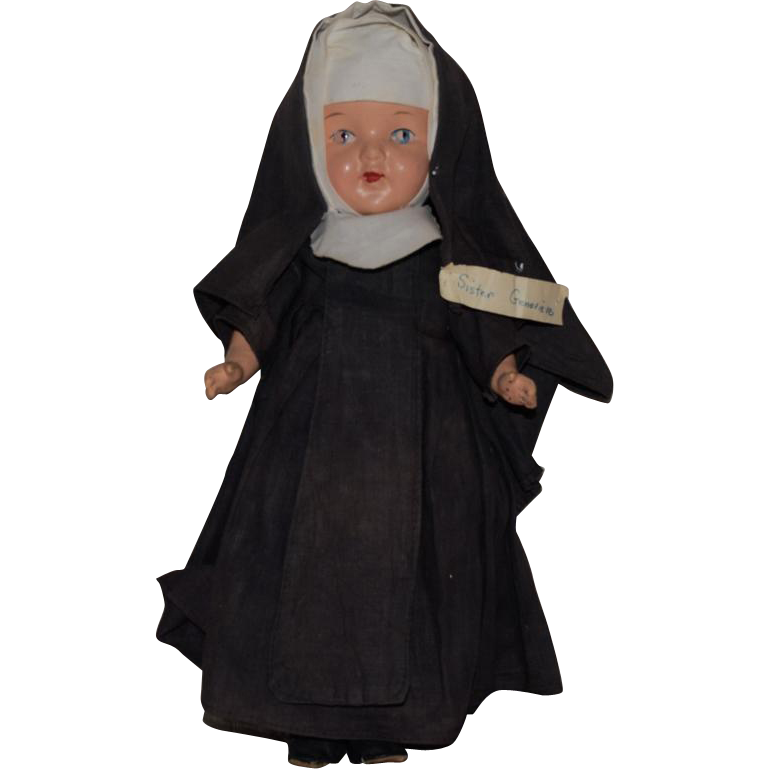 "Composition Nun Doll ""Sister Genevieve"" In Original Habit Costume"