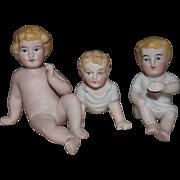 Three German All Bisque Babies
