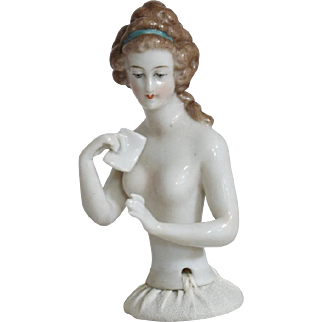German China Half Doll with Arms Away and Holding a Letter