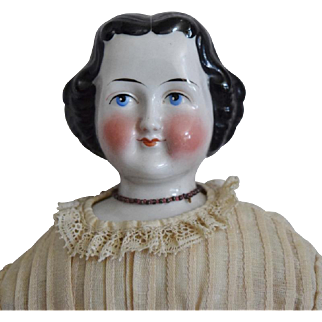 German Kestner Glazed Porcelain Flat Top China Head Doll with Character Face
