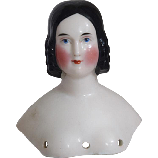 Early German Glazed Porcelain China Head Doll with Lydia Hairstyle by Kister