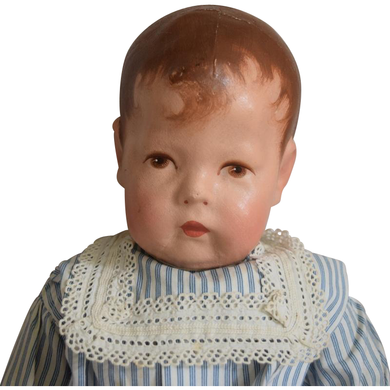 Kathe Kruse German Cloth Doll I in Blue Stripe Dress