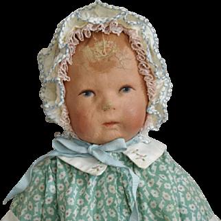 Kathe Kruse German Cloth Doll I in Green Print Dress