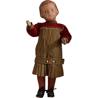 Wooden Schoenhut Character Doll with Carved Hair and Pink Head Band