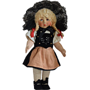 German Cloth Bing Art Doll in Original Ethnic Costume