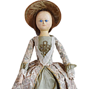 English Wooden Queen Anne Type Doll