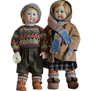 Early Roche Porcelain and Wooden Artist Dolls, Freddy & Florence