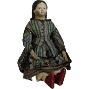Early German Papier Mache Shoulder Head Doll