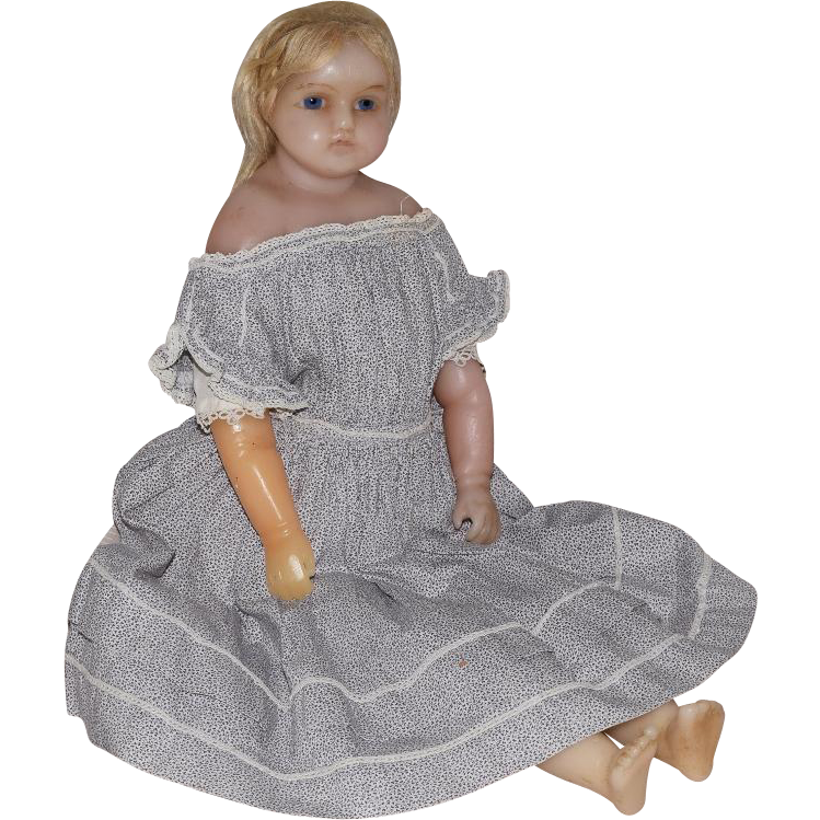 English Poured Wax Turned Shoulder Head Doll with Inset Hair