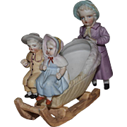Kate Greenaway Style German Bisque Figurine of Three Children