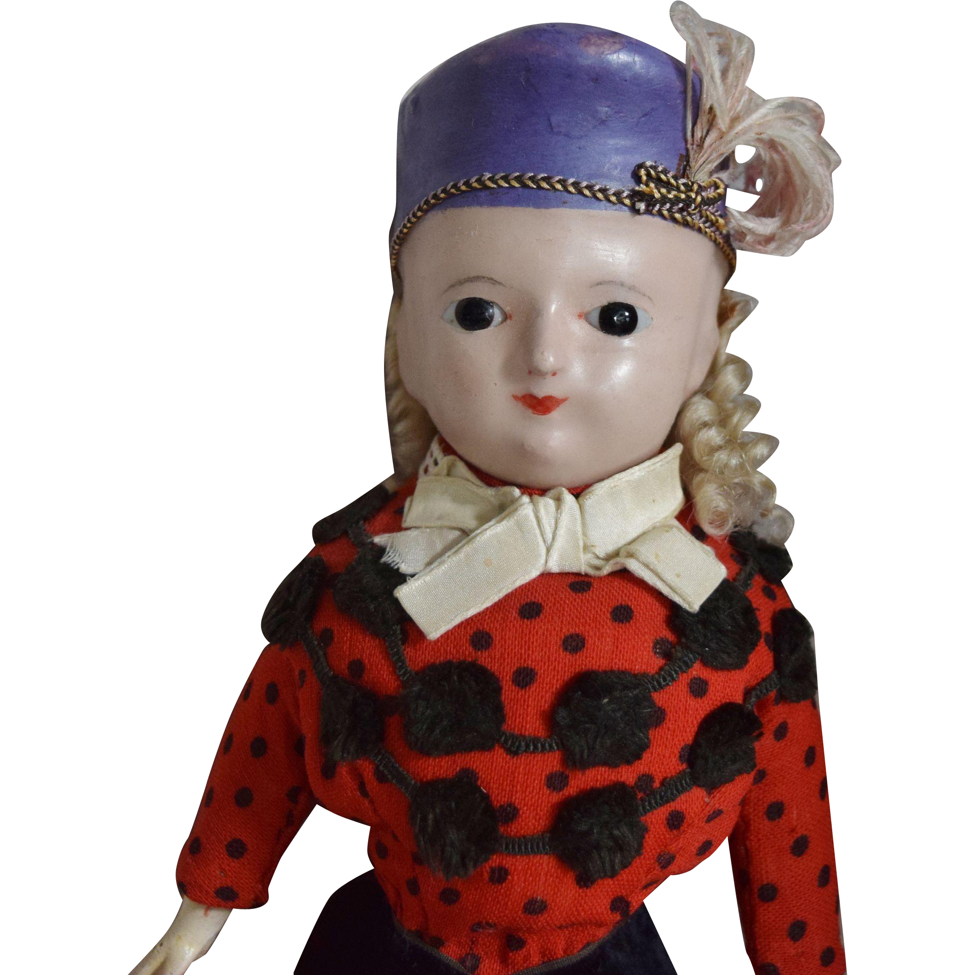 All Original German Wax Over Papier Mache Molded Hat Doll