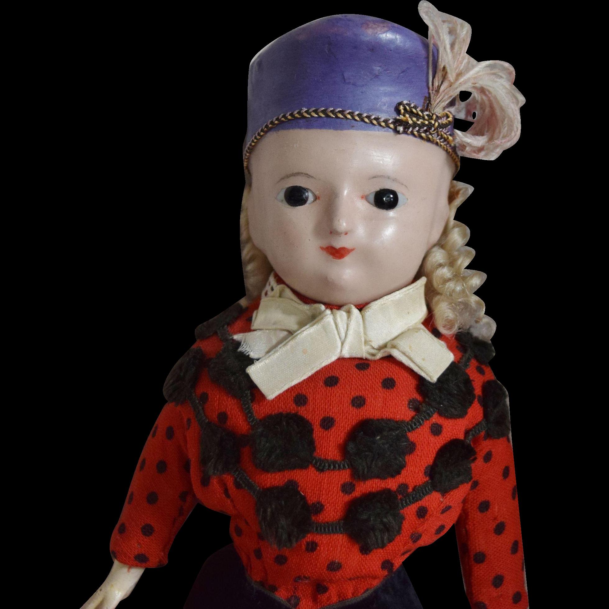 All Original German Wax Over Papier Mache Molded Hat Doll