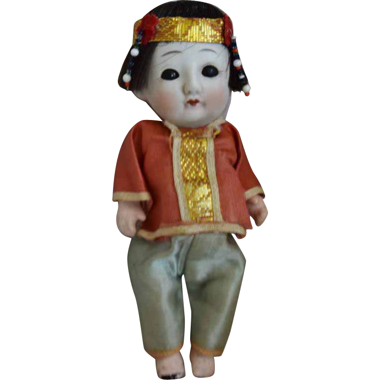 Tiny Chinese Bisque Head Doll in Original Costume