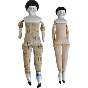 Two Small German China Head Dolls by Hertwig