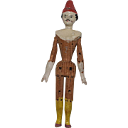 Early German Papier Mache and Wooden Gentleman Doll with Red Hat