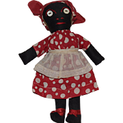 Small Black Cloth Doll in Red Polka Dot Dress