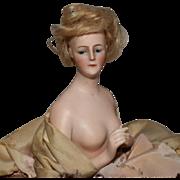 Elegant Arms Away German Bisque Half Doll Lady as a Pincushion