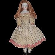 German Glazed Porcelain China Bald Head Shoulder Head Doll by Kister