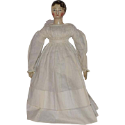 Early German Doll with Molded Breast and Painted Hair