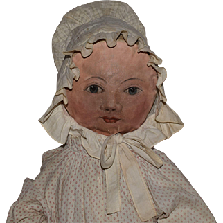 Early Cloth Doll with Oil Painted Face