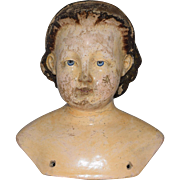 Wonderful Early German Papier Mache Shoulder Head