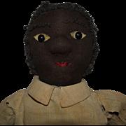 Antique Black Stockinet Character Cloth Doll in Ecru Dress