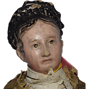 Early German Papier Mache Doll with Elaborate Hairstyle