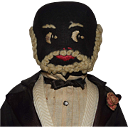 Black Cloth Older Gentleman Doll in Tuxedo