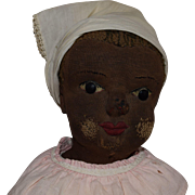 Antique Brown Cloth and Stockinet Folk Art Doll