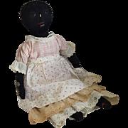 Antique Primitive Black Sateen Cloth Folk Art Doll