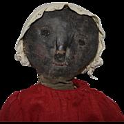 Primitive Oil Painted Face Black Folk Art Doll