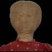 Antique Folk Art Cloth Stump Doll with Ink Drawn Face