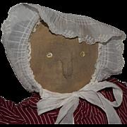 Antique Primitive Folk Art Cloth Doll with Button Eyes