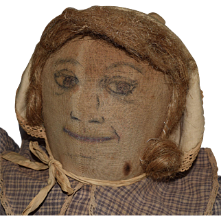 Large Antique Folk Art Cloth Doll with Ink Drawn Face