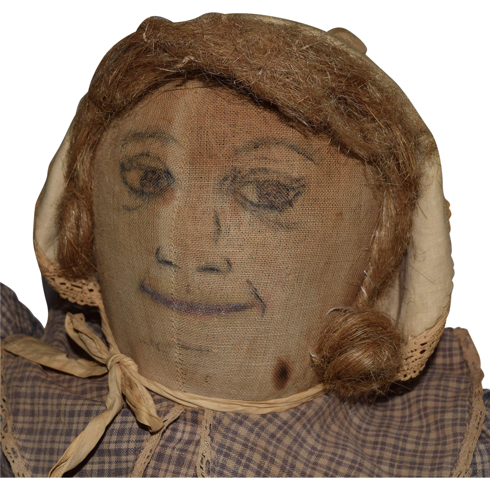 Large Antique Folk Art Cloth Doll With Ink Drawn Face From