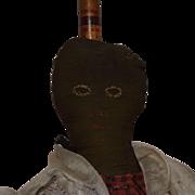 Antique Black and Brown Cloth Folk Art Broom Doll