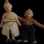 "All Wooden Dolls Cartoon Characters ""Maggie & Jiggs"" by Schoenhut"