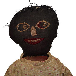 Antique Black Cloth Doll with Embroidered Face