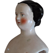 Early Antique German China Head with Fancy Hairstyle