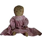 Cloth Doll with Ink Drawn Face in Pink Dress