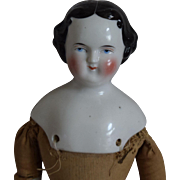 German Flat Top Hairstyle China Head Doll by Kestner