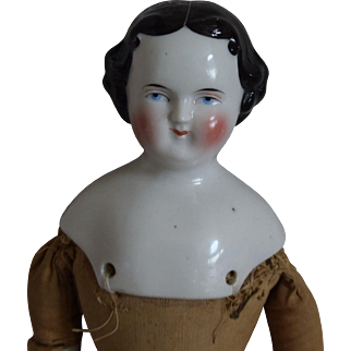 German Flat Top Hairstyle China Head Doll by Kestner